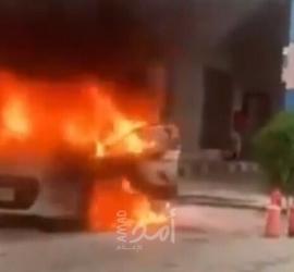 مستوطنون يحرقون مركبة في روجيب شرق نابلس