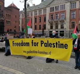 """وقفة جماهيرية حاشدة في """"أمستردام"""" استنكارا للجرائم الإسرائيلية على قطاع غزة والقدس المحتلة"""