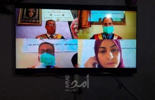 في زمن كورونا .. هكذا يناقش طلبة قطاع غزة أبحاثهم - صور