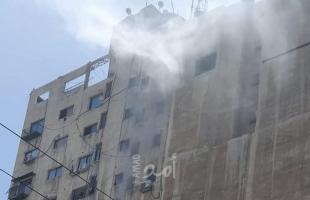 اندلاع حريق بمولد كهربائي في برج الشروق وسط غزة