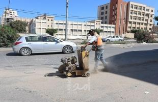 بلدية غزة تشرع بصيانة صيانة شارع الأقصى غرب المدينة