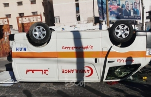 إصابات في انقلاب سيارة إسعاف في حي النصر غرب غزة