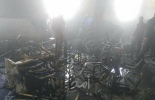 صور .. غزة: حريق بقاعة أفراح في بلدة بيت حانون