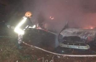 """طواقم الدفاع المدني تسيطر على حريق اندلع بمركز للمركبات في """"كفر سابا"""" بقلقيلية"""