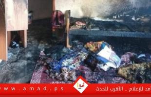 اندلاع حريق في منزل وسط قطاع غزة- صور
