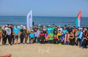"""""""الاتحاد الفلسطيني للشراع والتجديف"""" ينظم أول نشاط رياضي على شاطئ بحر غزة- صور"""