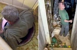سيدة تكتشف قنابل وأغذية تحت منزلها  - فيديو