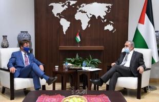اشتية يطالب عبر ممثل الاتحاد الأوروبي مزيدًا من الضغط لوقف العدوان على الشعب الفلسطيني