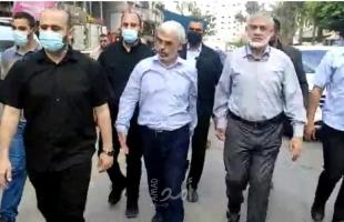 السنوار في أول ظهور له بعد العدوان يقوم بجولة ميدانية في غزة - صور وفيديو