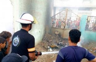 """الدفاع المدني يخمد حريق اندلع في منتزة """"حي البرازيل"""" برفح"""