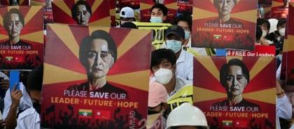 """زعيمة """"بورما"""" المخلوعة تمثل أمام محكمة عبر تقنية الفيديو"""