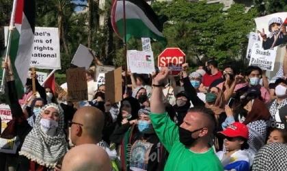 """مسيرات تجوب شوارع أمريكا ويقدمون عريضة """"للكونجرس"""" للوقوف مع الفلسطينيين"""