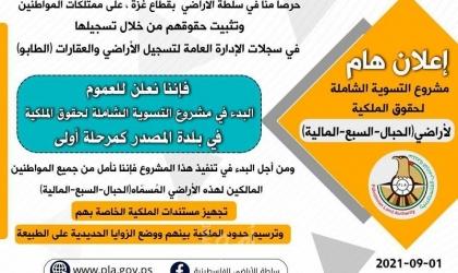 """""""سلطة أراضي حماس"""" تبدأ بمشروع تسوية حقوق الملكية لأراضي بلدة المصدر"""