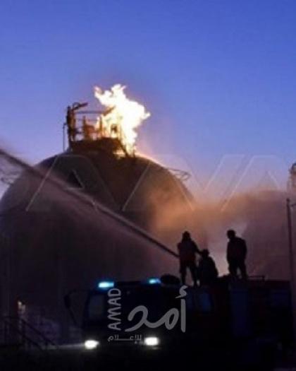 """محدث - سانا: حريق في """"مصفاة حمص"""" للنفط نتيجة تسريب من إحدى المضخات"""