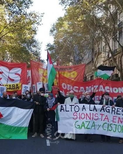 مسيرات ووقفات تضامنية في الأرجنتين والبرازيل ضد العدوان الإسرائيلي المستمر على شعبنا