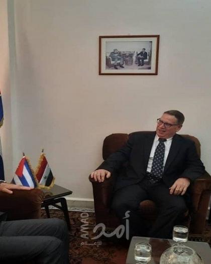 السفير عبد الهادي يبحث مع كلًا من سفير الاتحاد الأوروبي لسوريا وسفير كوبا آخر التطورات في الأراضي الفلسطينية